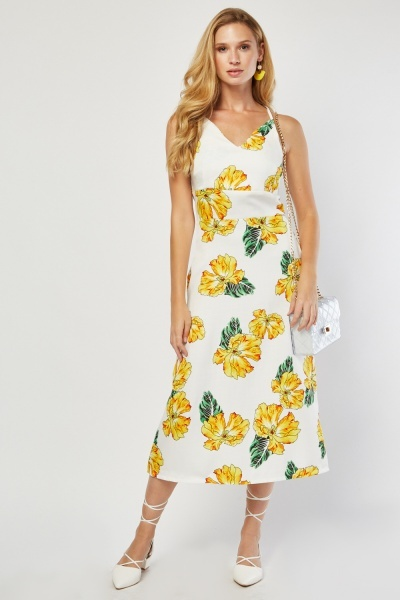 Flower Printed Midi Slip Dress