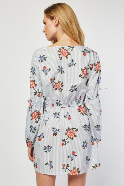 Floral Stripe Mix Tunic Dress
