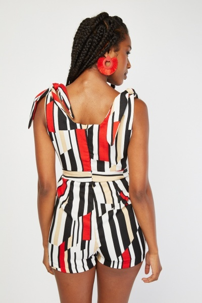 Geometric Tie Up Straps Playsuit