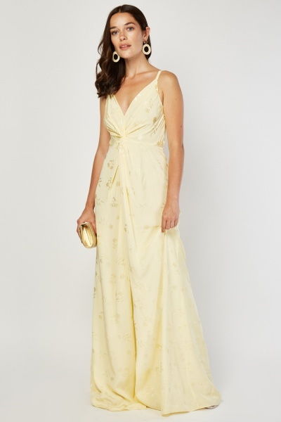 Twisted Front Maxi Slip Dress