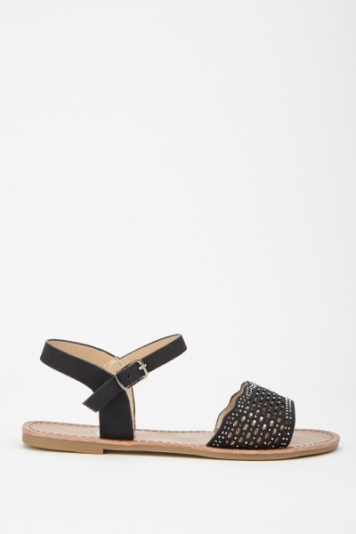 Cutwork Encrusted Flat Sandals