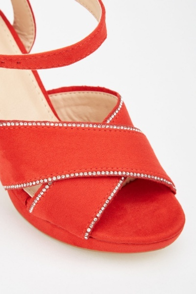 Encrusted Edge Cross-Strap Sandals