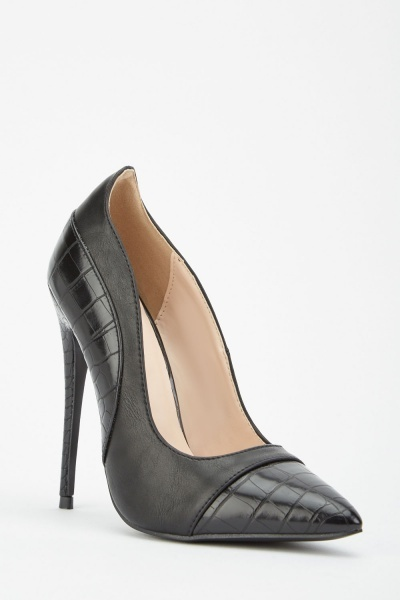 LOST INK Charly Texture Mix High Heel Court Shoe