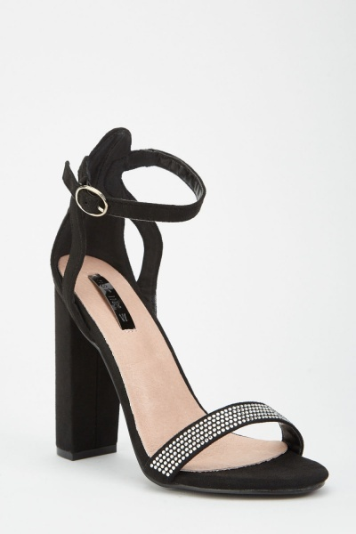 LOST INK Fara Jewel Trim Block Heel