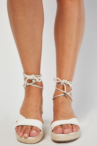 LOST INK White Fran Ankle Wrap Flat Sandal