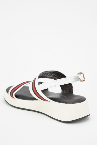PVC Strappy Mini Wedge Sandals