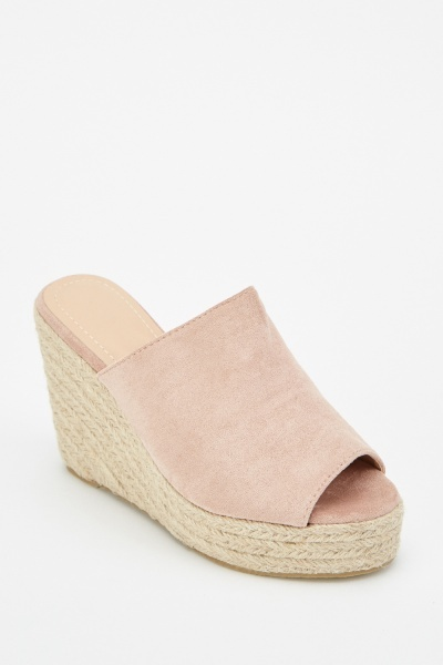 Suedette Wedge Mules