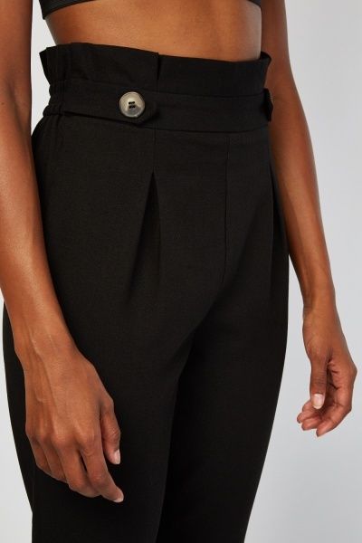 High Waist Black Tapered Trousers