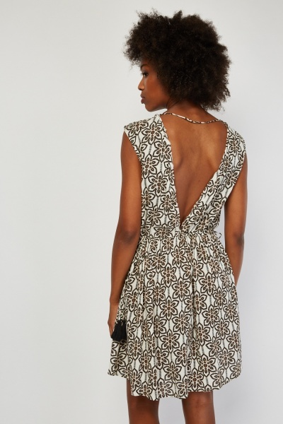 Printed Low Plunge Crinkle Dress