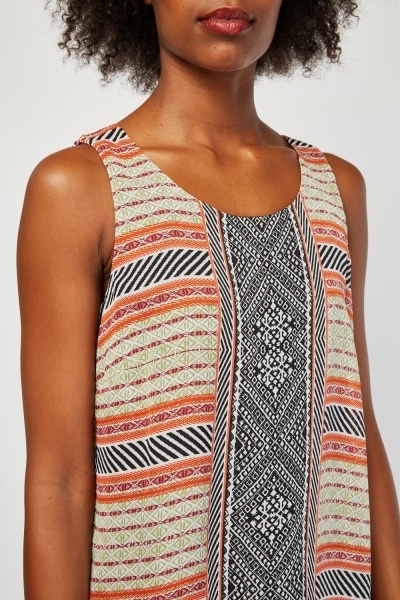 Sheer Aztec Tunic Dress