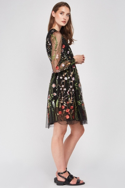 Flower Embroidered Mesh Dress