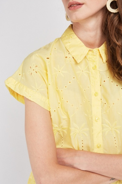 Short Sleeve Yellow Broderie Shirt