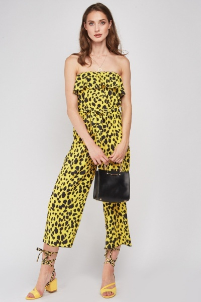 Strapless Ruffle Animal Print Jumpsuit