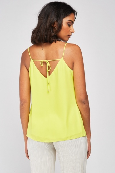 Tie Up Back Lime Camisole Top
