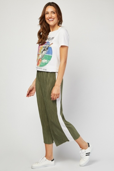Stripe Side Wide Leg Culotte Trousers