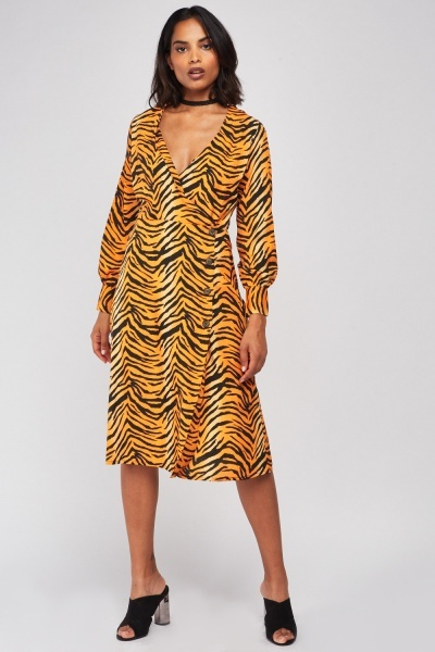 Tiger Print Midi Wrap Dress
