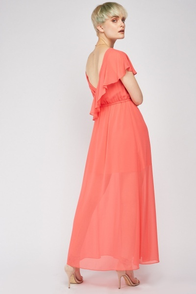 Sheer Ruffle Maxi Dress