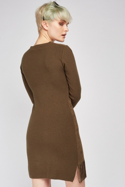 Suedette Rib Knit Contrast Dress