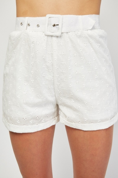 Buckle Belted Broderie Shorts