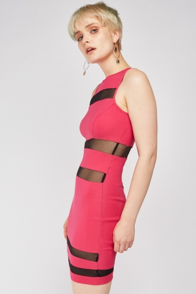 Spiral Cut Mesh Bodycon Dress