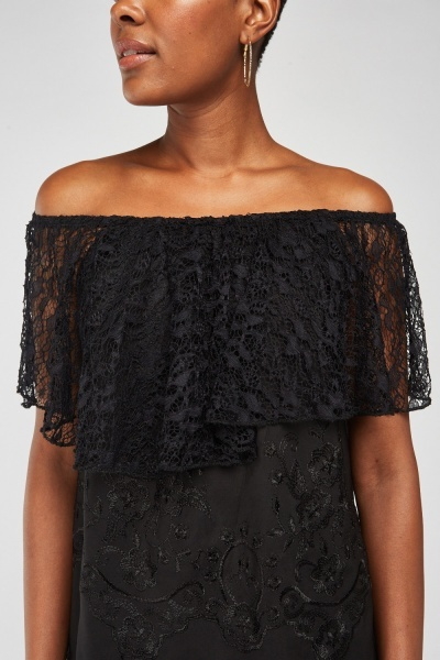 Lace Overlay Embroidered Top