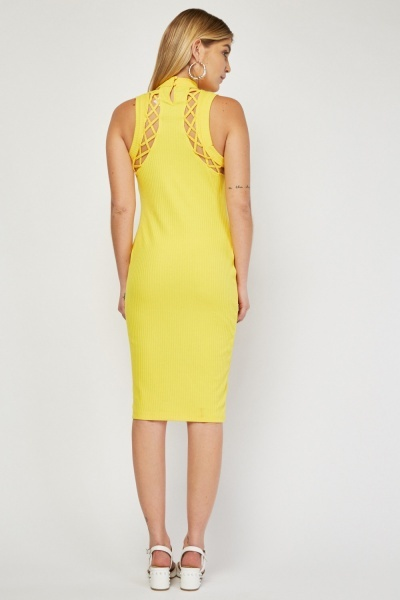 Criss-Cross Ribbed Bodycon Dress
