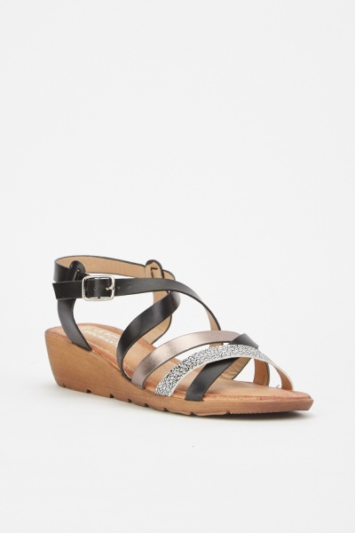 Metallic Scatter Print Contrasted Sandals