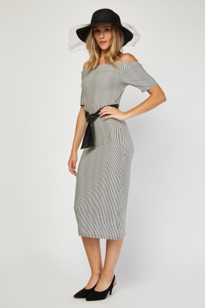 Off Shoulder Stripe Bodycon Dress