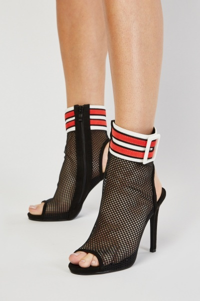Mesh Insert Cut Out Heel Sandals