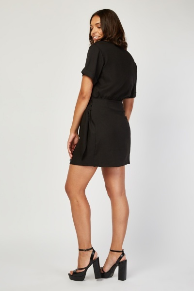 Tie Up Side Mini Wrap Dress