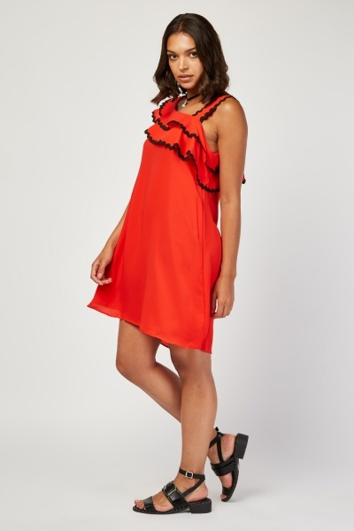 Contrast Trim Shift Dress