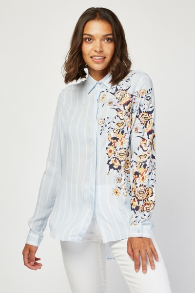 Floral Print Side Striped Shirt