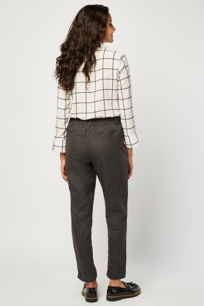 Speckled Woven Tapered Trousers