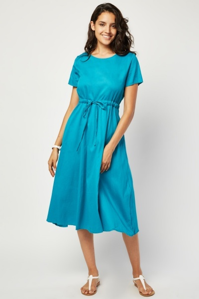 Tie Up Waist Midi Tunic Dress