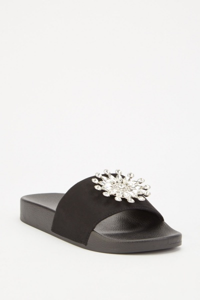 Embellished Suedette Slip On Sliders