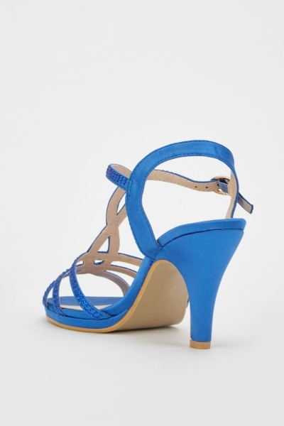 Encrusted Sateen High Heel Sandals