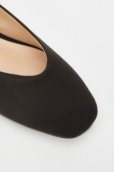 Lost Ink Bee Curved Strap Square Toe Flats