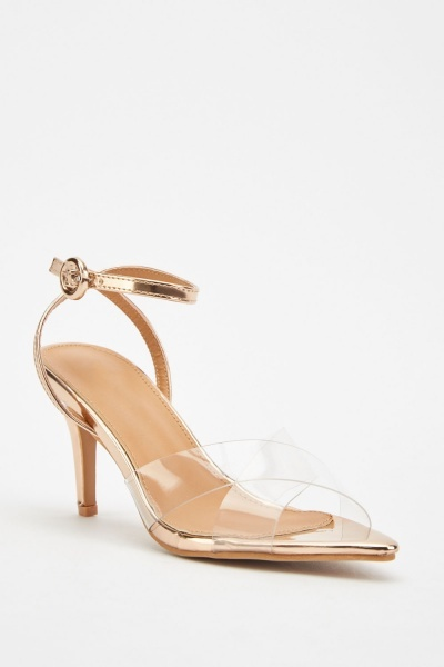 Transparent Metallic Contrast Heeled Sandals