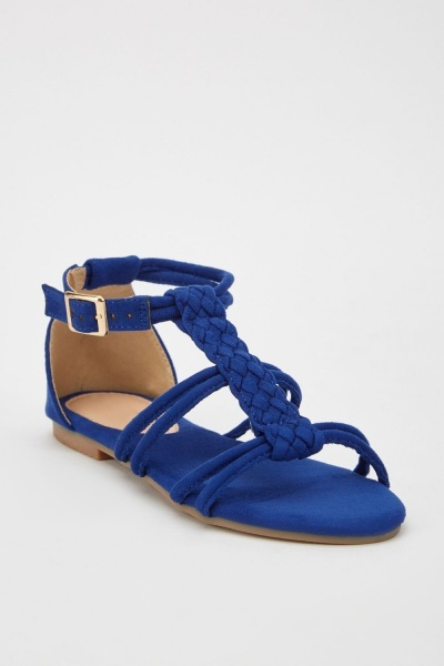 Weaved Suedette Flat Sandals