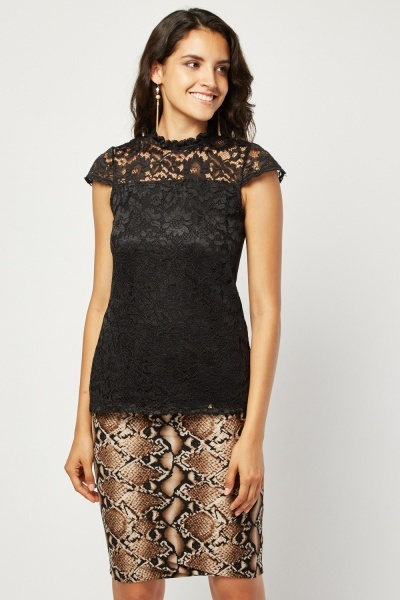 Cap Sleeve Lace Illusion Top
