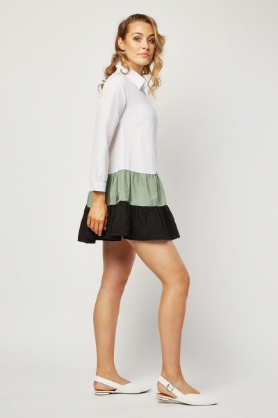 Colour Block Contrast Shirt Dress