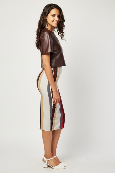 Colour Block Stripe Pencil Skirt