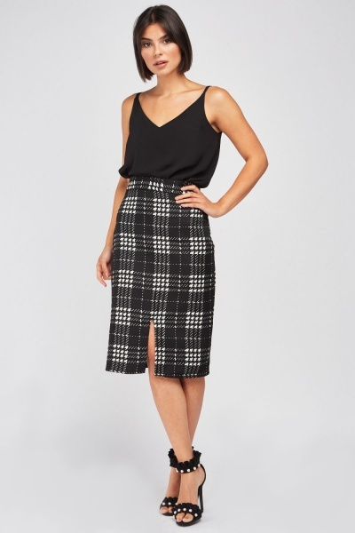 High Waist Plaid Pencil Skirt