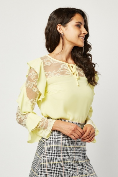 Spiral Ruffle Lace Trim Blouse