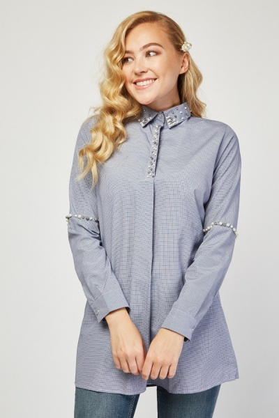 Faux Pearl Trim Nailshead Shirt