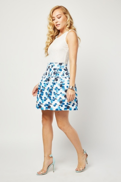 Lace Bodice Geo Skater Dress