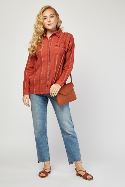 Long Sleeve Stripe Textured Shirt