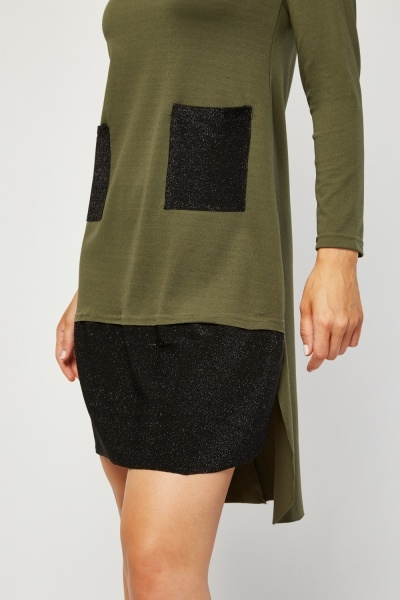 Lurex Trim Contrast Shift Dress