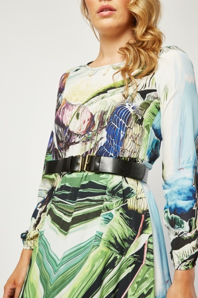 Oil Painting Effect Print Dress