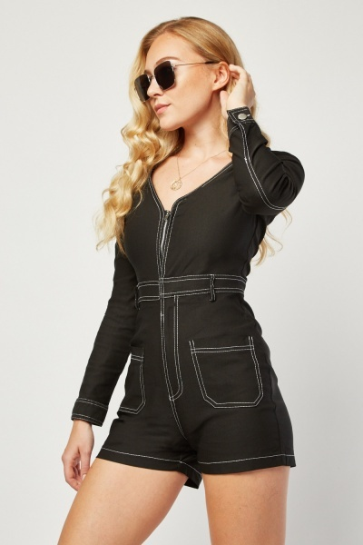 Top Stitched Utility Playsuit